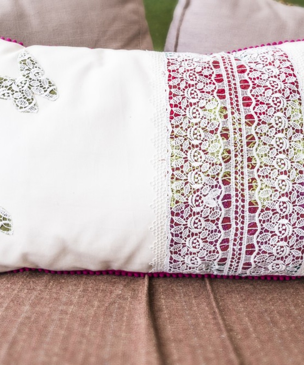 White Throw Pillow with Special Lace Accents