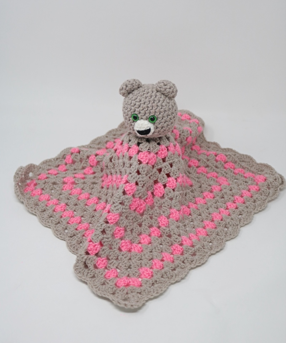 Teddy Bear Safety Blanket: White and Pink