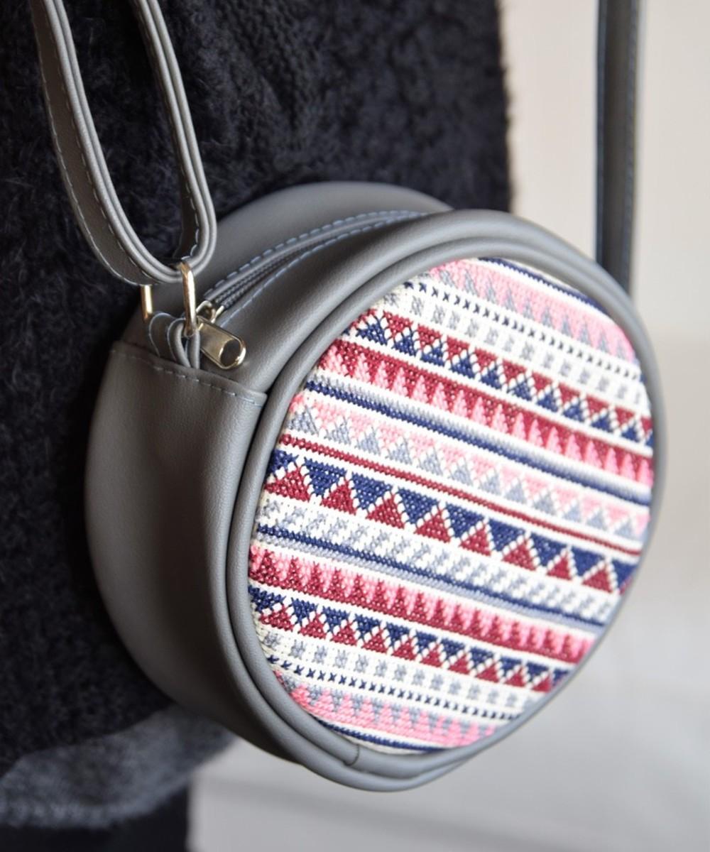 Circular Embroidered Purse: Grey