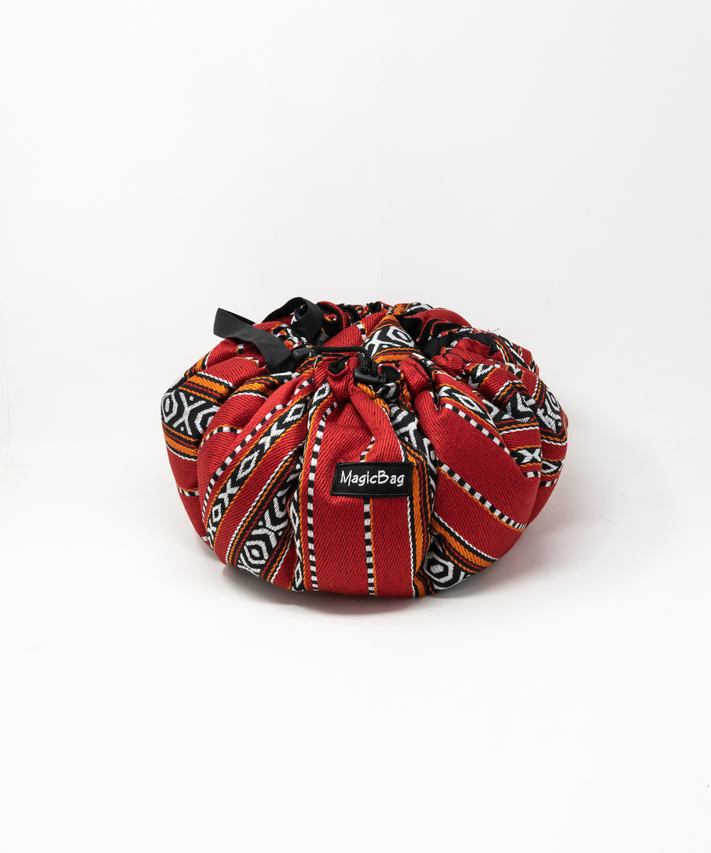بقجة الطبيخ بقماش على الطراز البدوي والألوان الأحمر والأسود   - صغيرة
