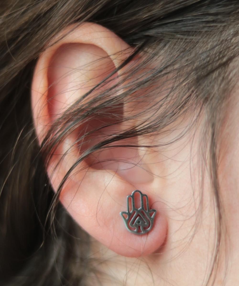 Stainless Steel Hamsa Hand Earrings in Silver