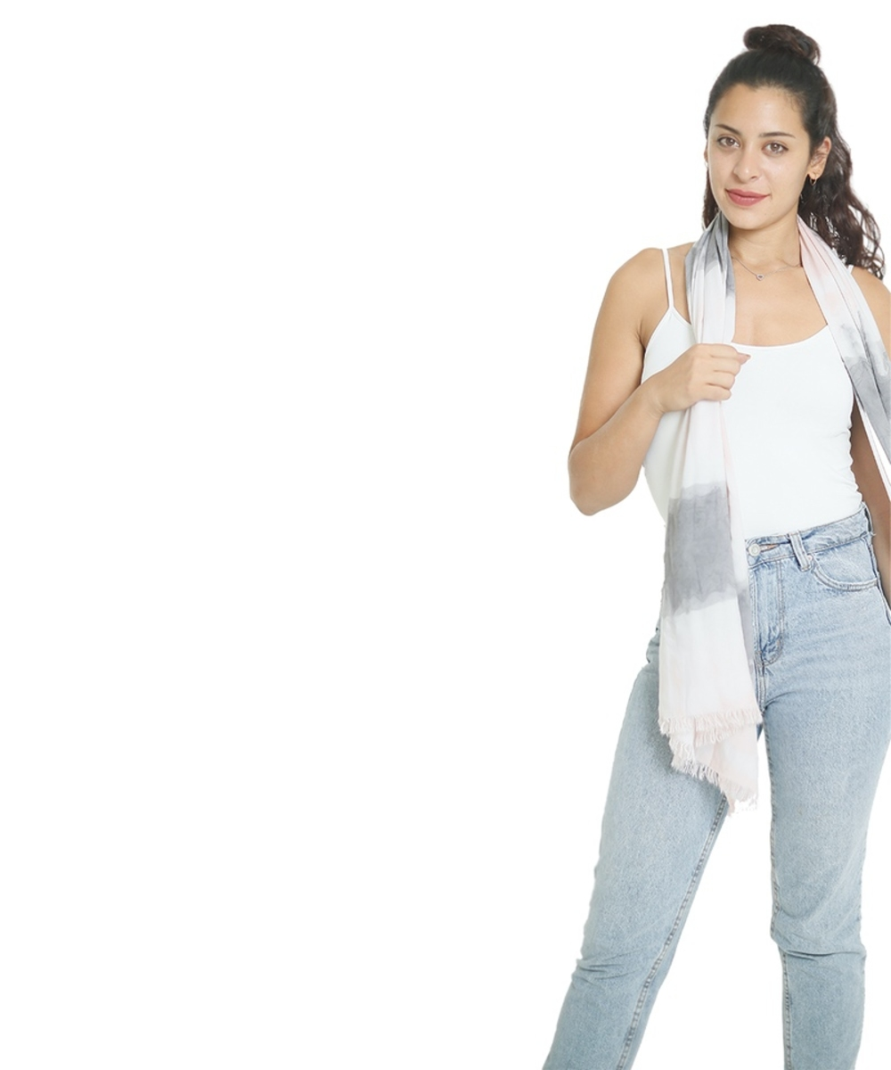 Tie-Dye Scarf in White and Grey
