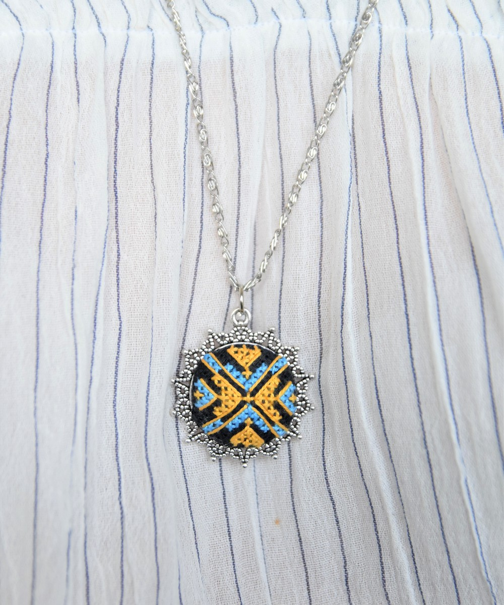 Embroidered Pendant Necklace: Yellow and Blue