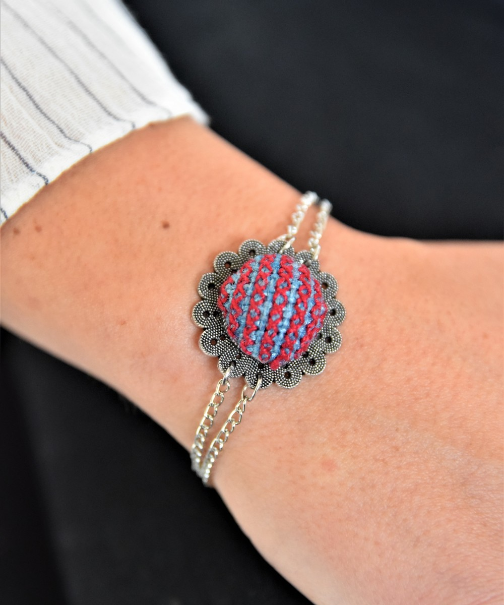 Embroidered Floral Bracelet - Blue and Red
