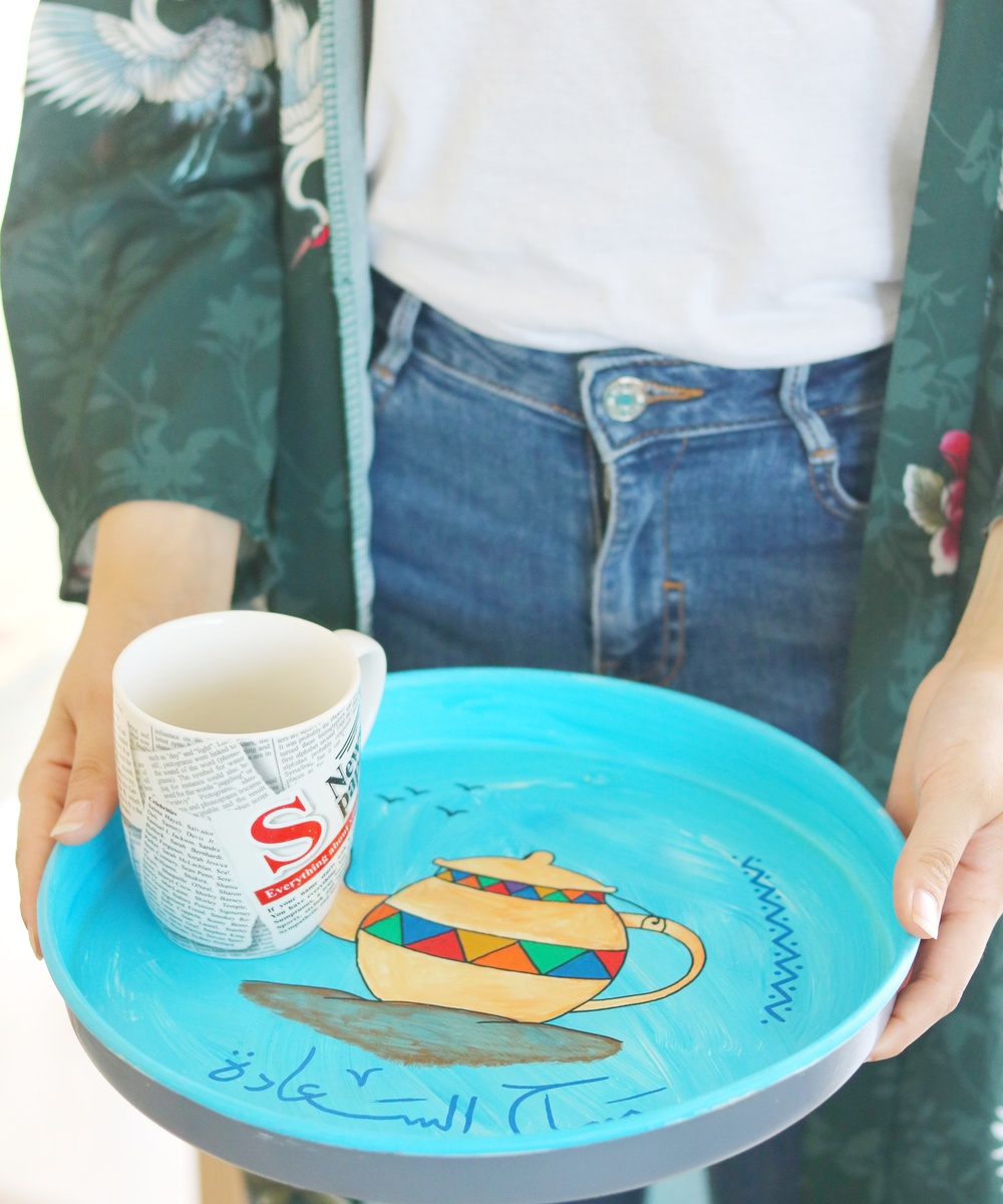 Round Serving Tray: Blue