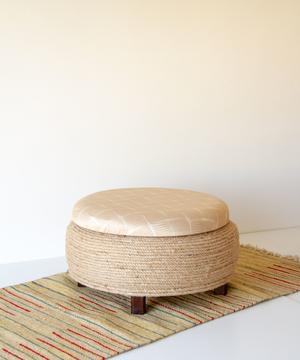 Stool With Storage - Beige With Geometric Pattern