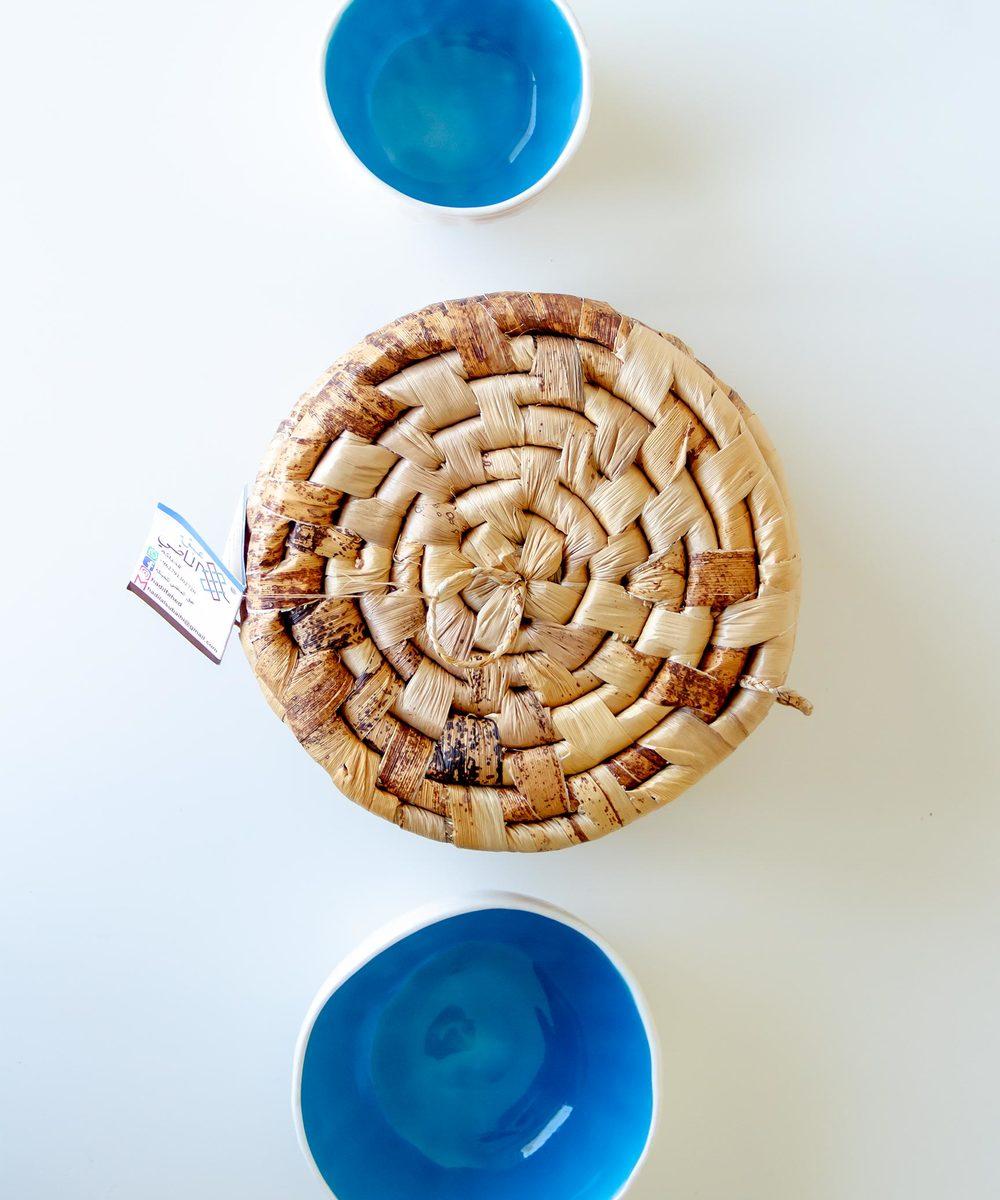 Set of Two Ceramic Bowls with Banana Leaf Basket
