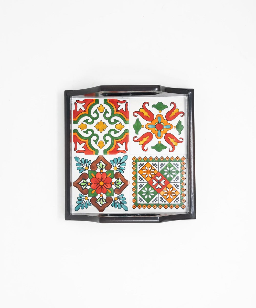 Small Serving Tray with Hand-painted Ceramics in Orange