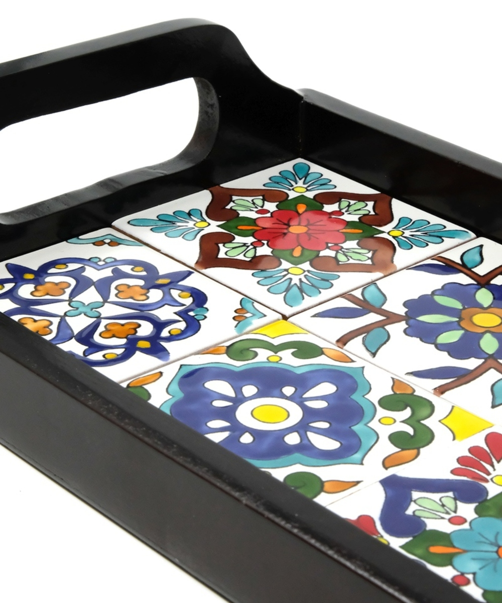 Small Serving Tray with Handpainted Ceramics (Dark Wood)