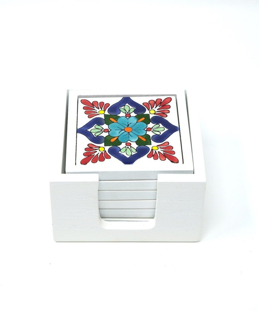 Handpainted Ceramic Coasters, set of 6 with holder (White with assorted designs)