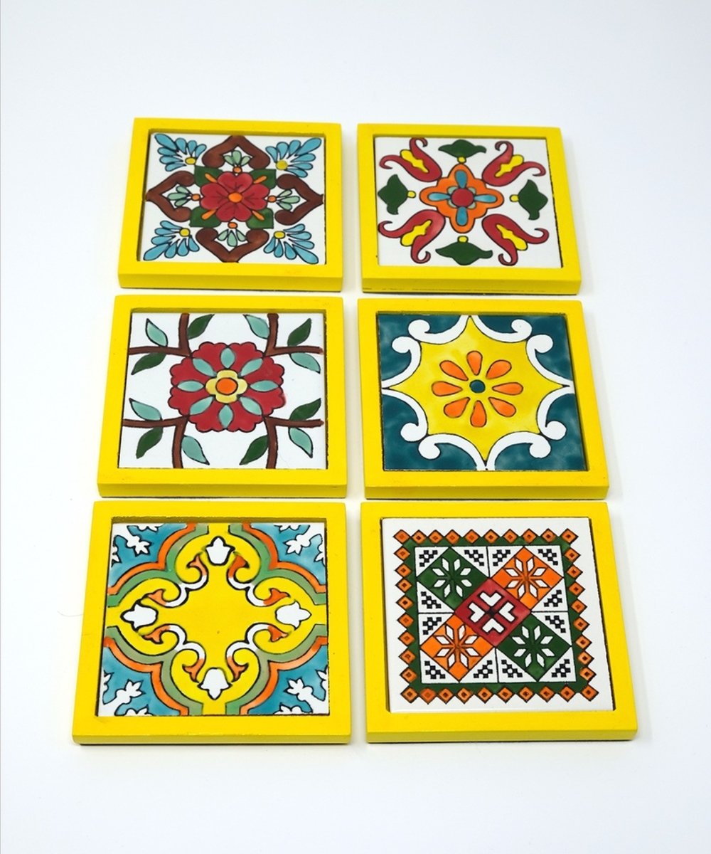 Handpainted Ceramic Coasters, set of 6 with holder (Yellow with assorted designs)