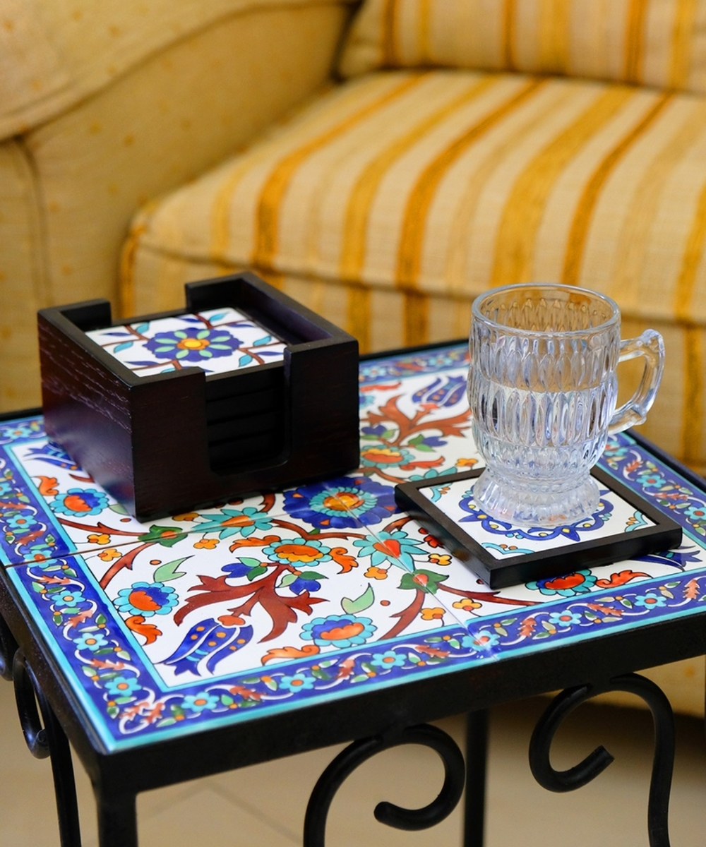 Handpainted Ceramic Coasters, set of 6 with holder (Dark wood with assorted designs)
