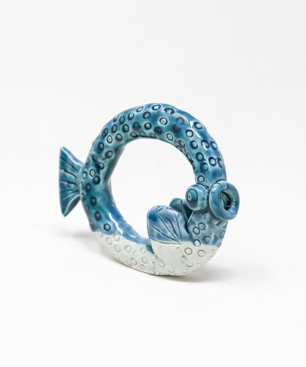 Set Of Six Glazed Ceramic Fish Shaped Napkin Rings