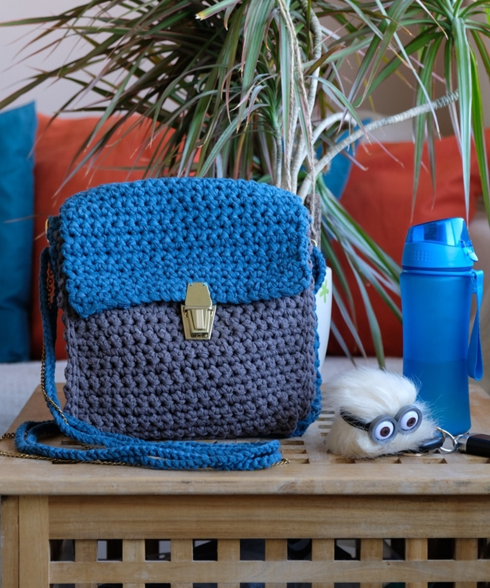 Small Knitted Blue and Drak Grey Bag