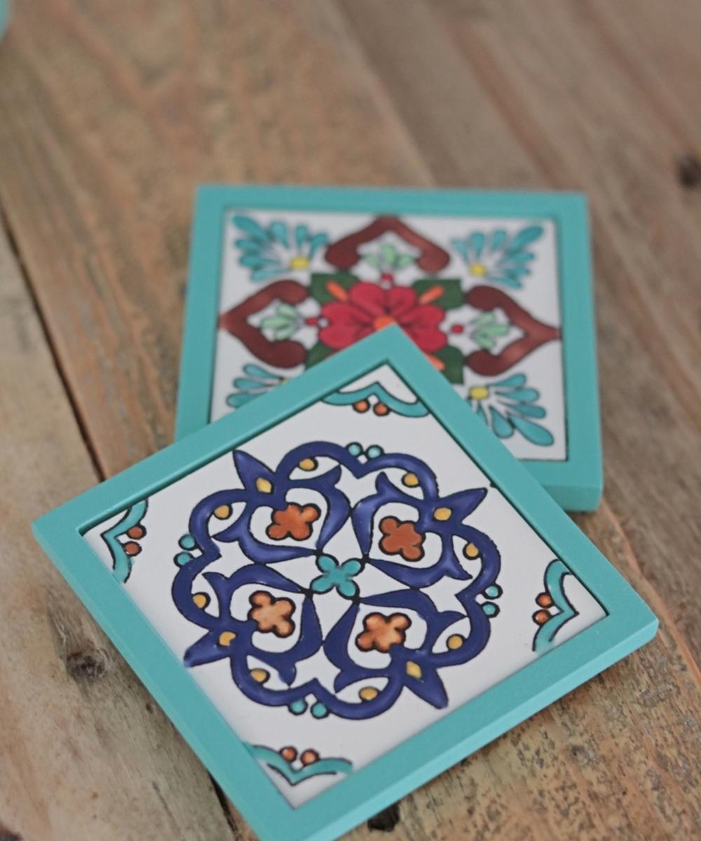 واقية إبريق شاي زرقاء تركوازكبيرة و 6 واقيات شاي صغيرة وحامل