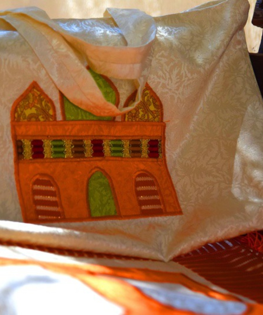 White Prayer Rug with Orange Accents and Carrying Bag