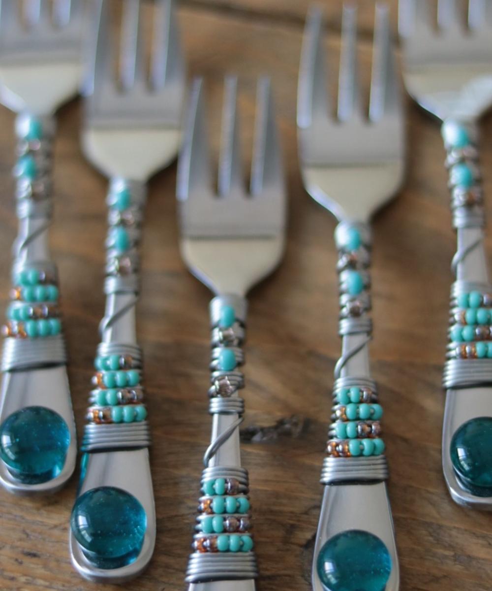 Beaded Fork Set (Orange and Blue)
