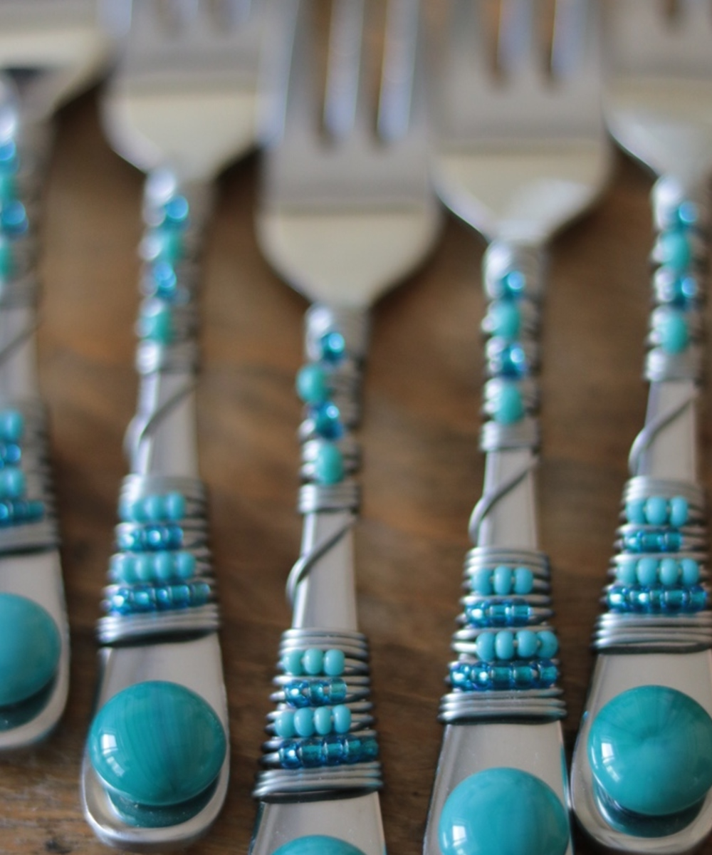Beaded Fork Set (Turquoise)