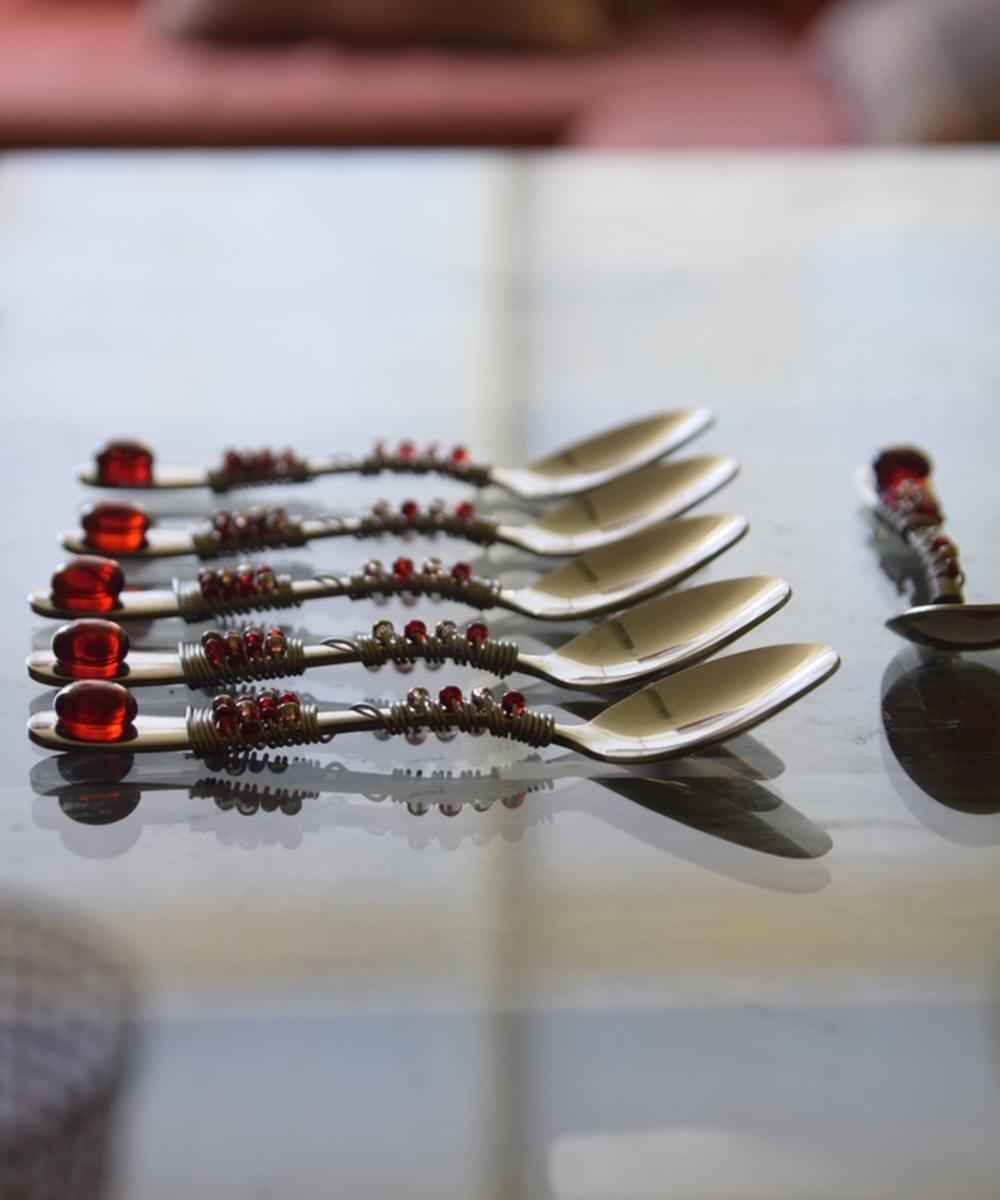 مجموعة أدوات مائدة  - ملاعق عدد 6 - لون خمري