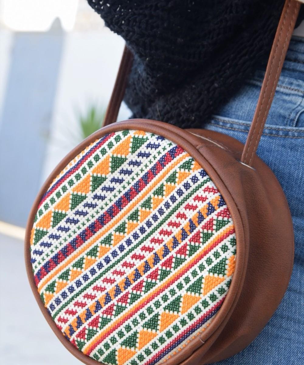 Circular Embroidered Purse: Brown