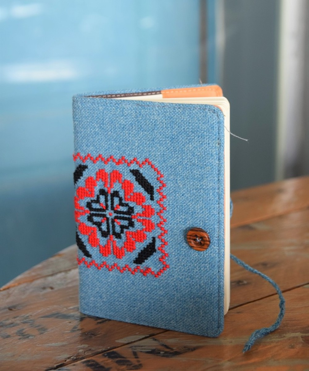 Traditional Embroidered Notebook: Blue