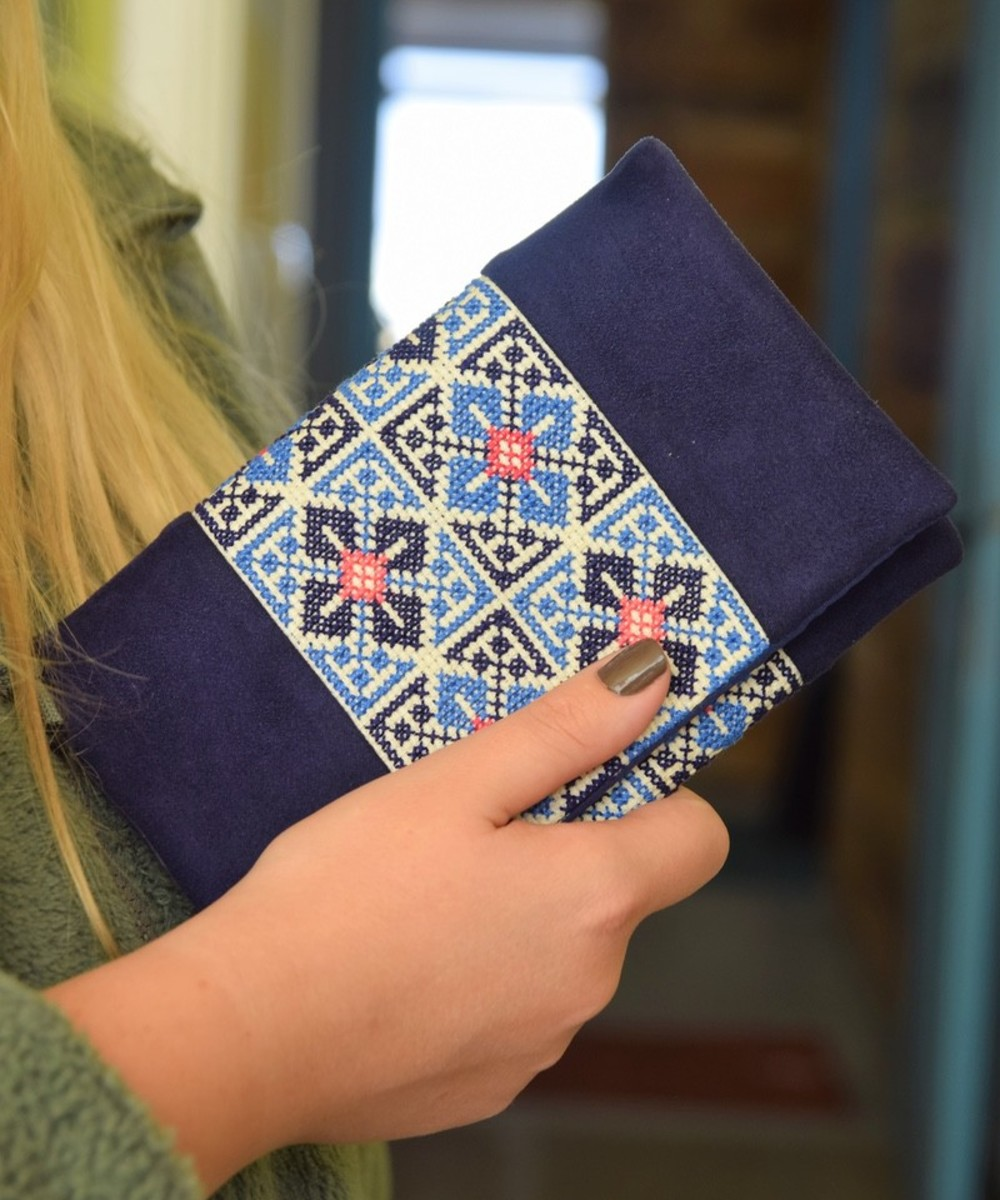 Embroidered Clutch: Blue and Pink