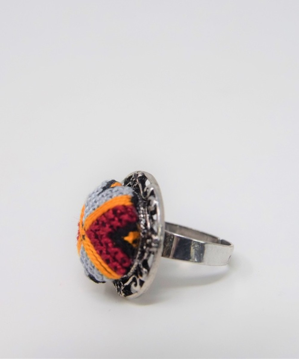 Embroidered Ring: Lavender, Red, and Yellow