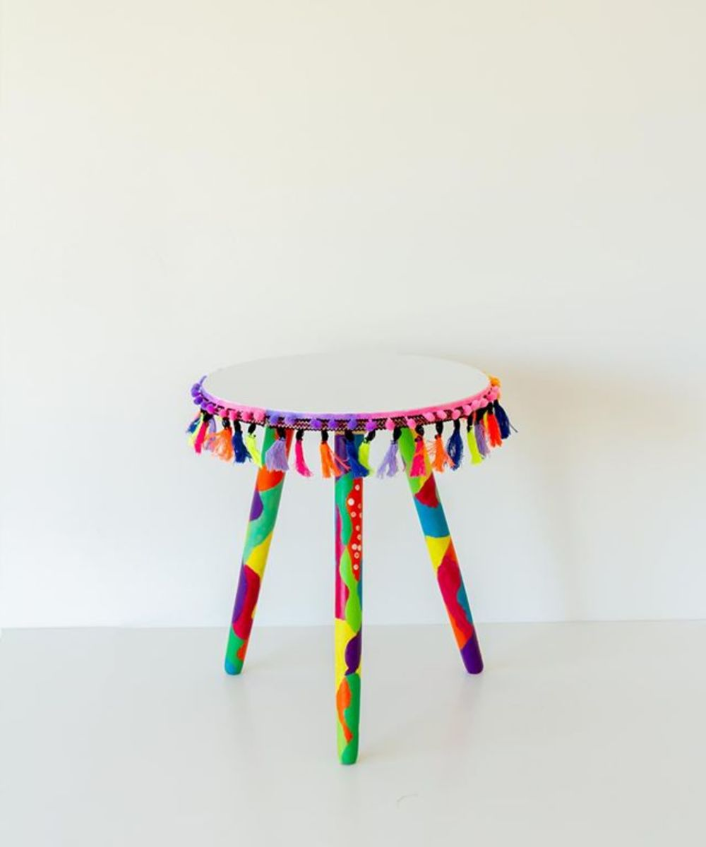 Hand-Painted Boho Side Table: White (Small)