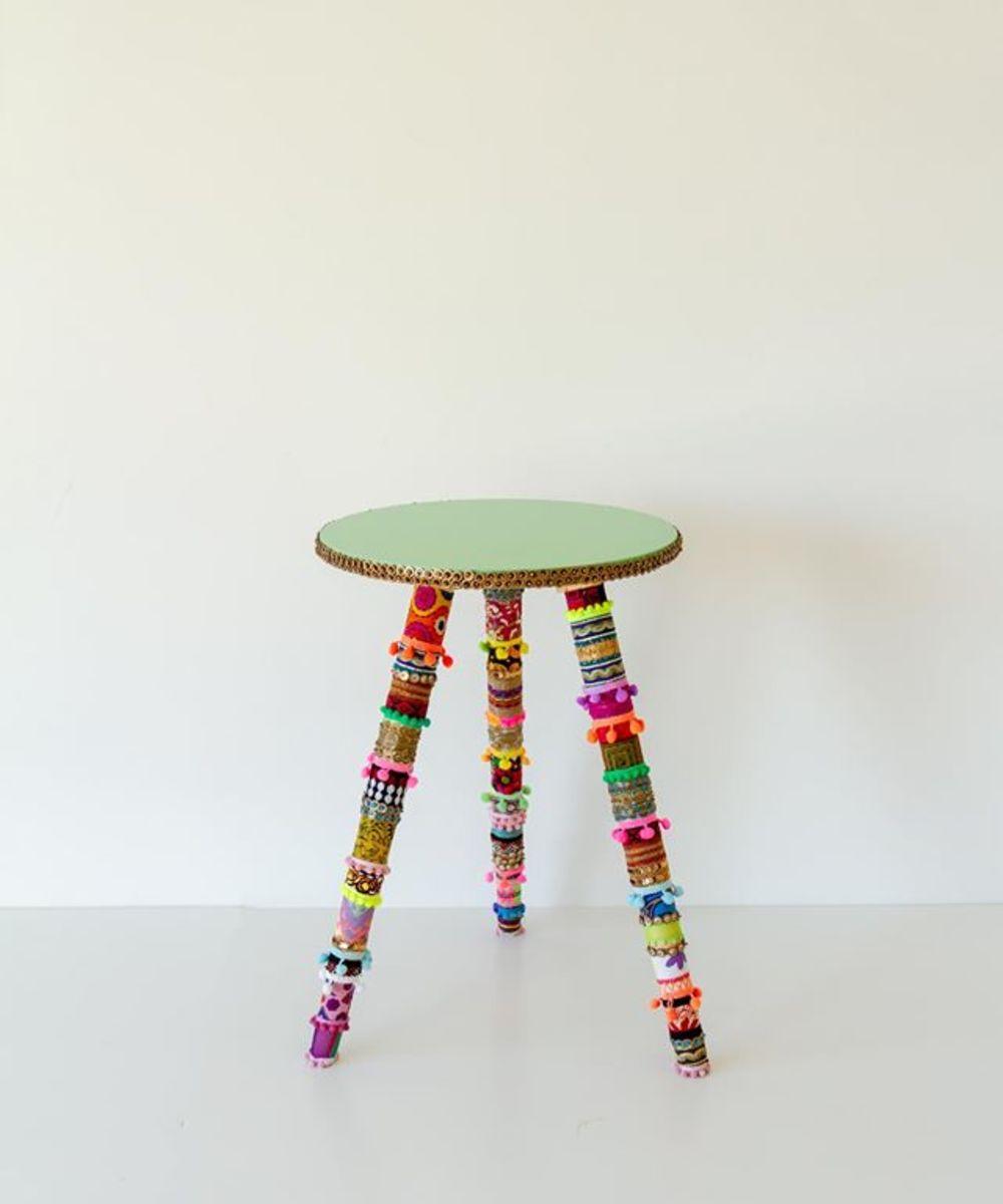 طاولة جانبية كبيرة ملونة بألوان بوهيمية مميزة - أخضر