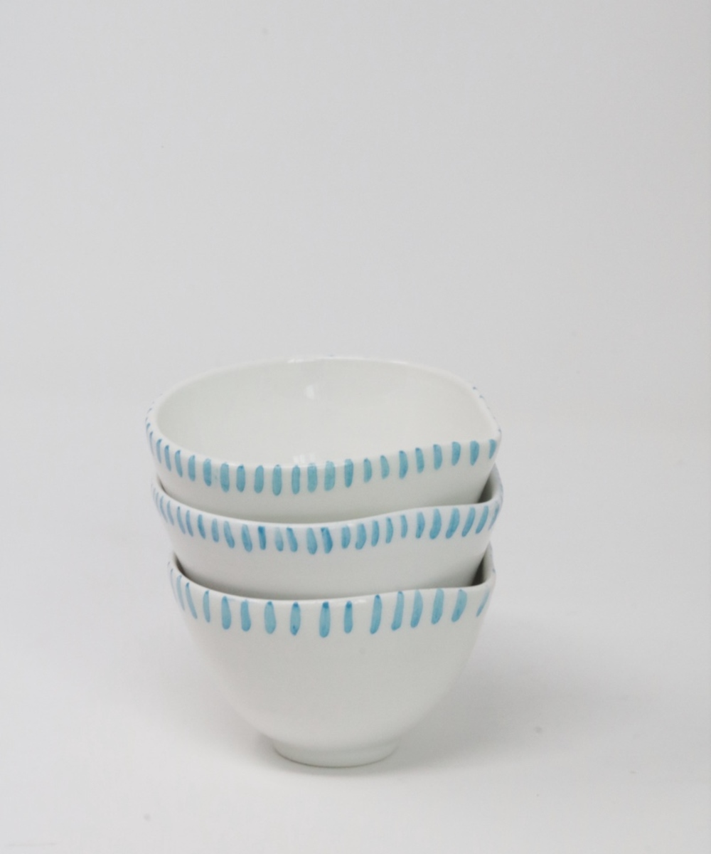 Porcelain Bowls in White + Turquoise