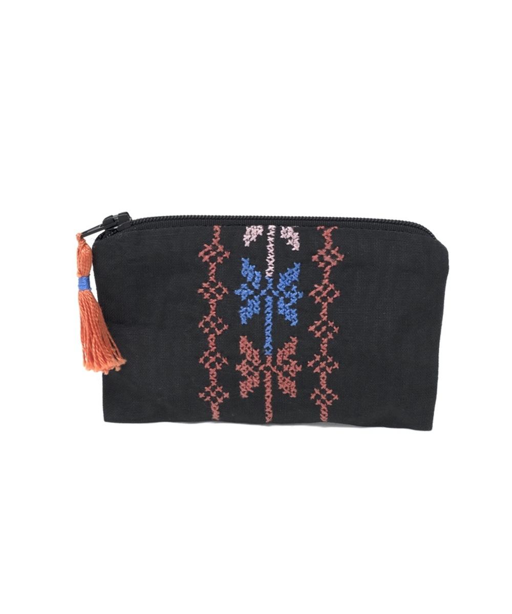 Hand-embroidered Change Purse (Black base, orange & blue detailing)