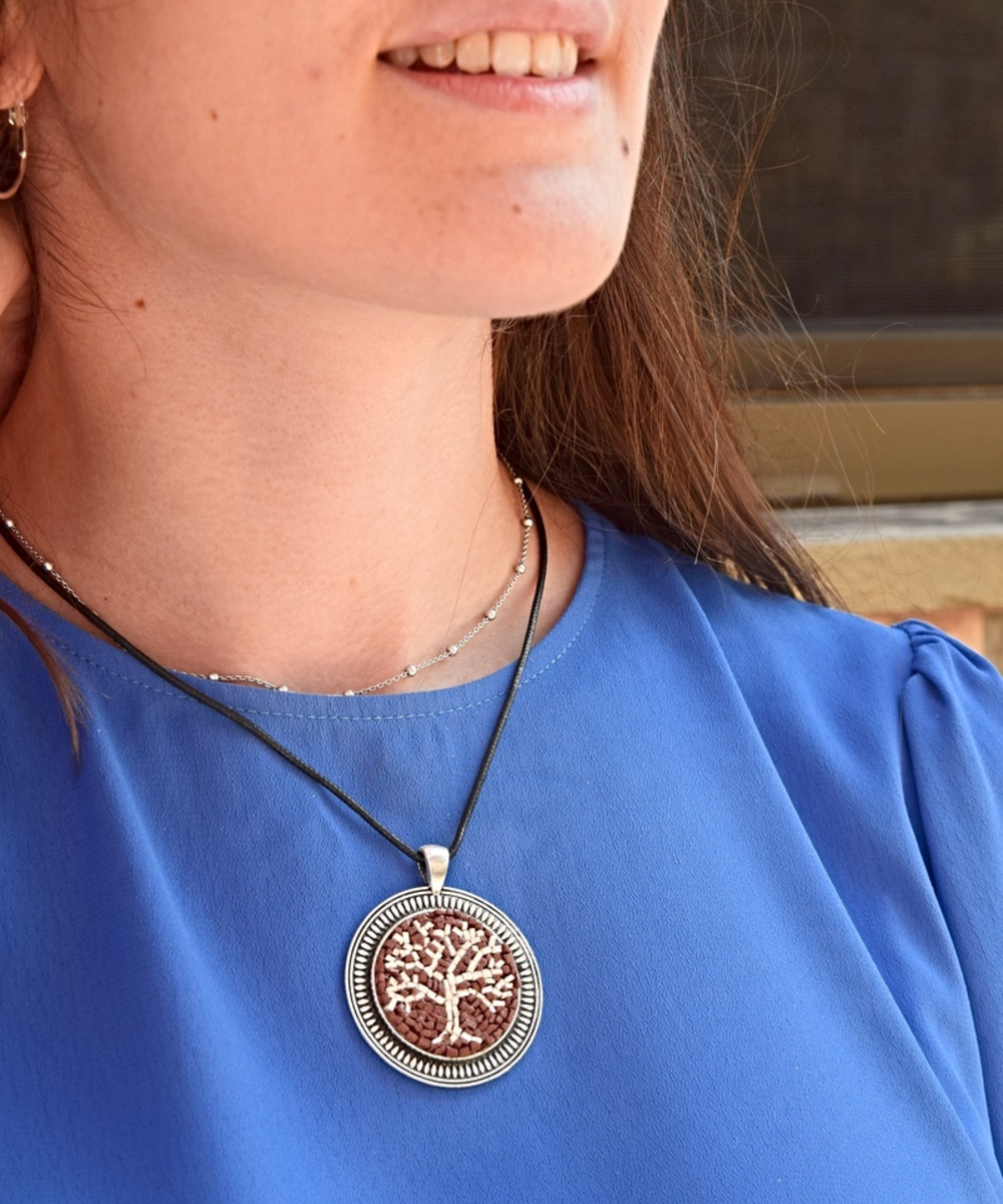 Handmade Mosaic Necklace in The Tree of Life