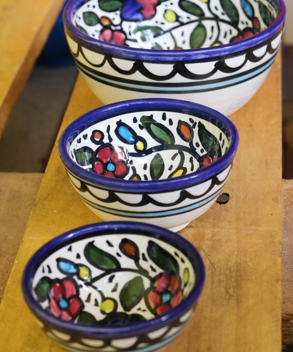 Floral Ceramic Bowl Set: Multicolor