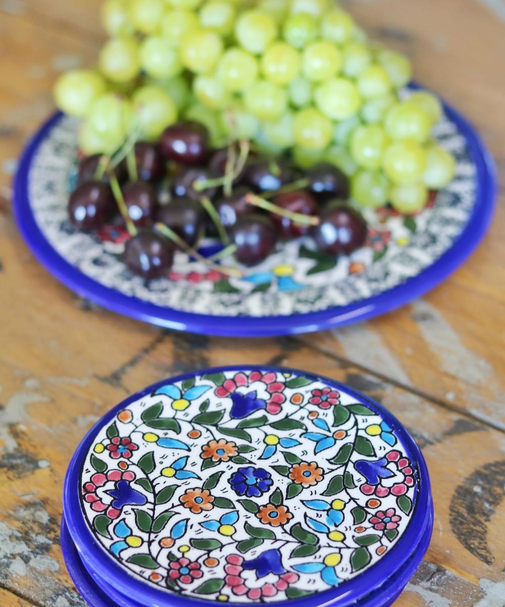 Floral Ceramic Plate Set: Multicolor