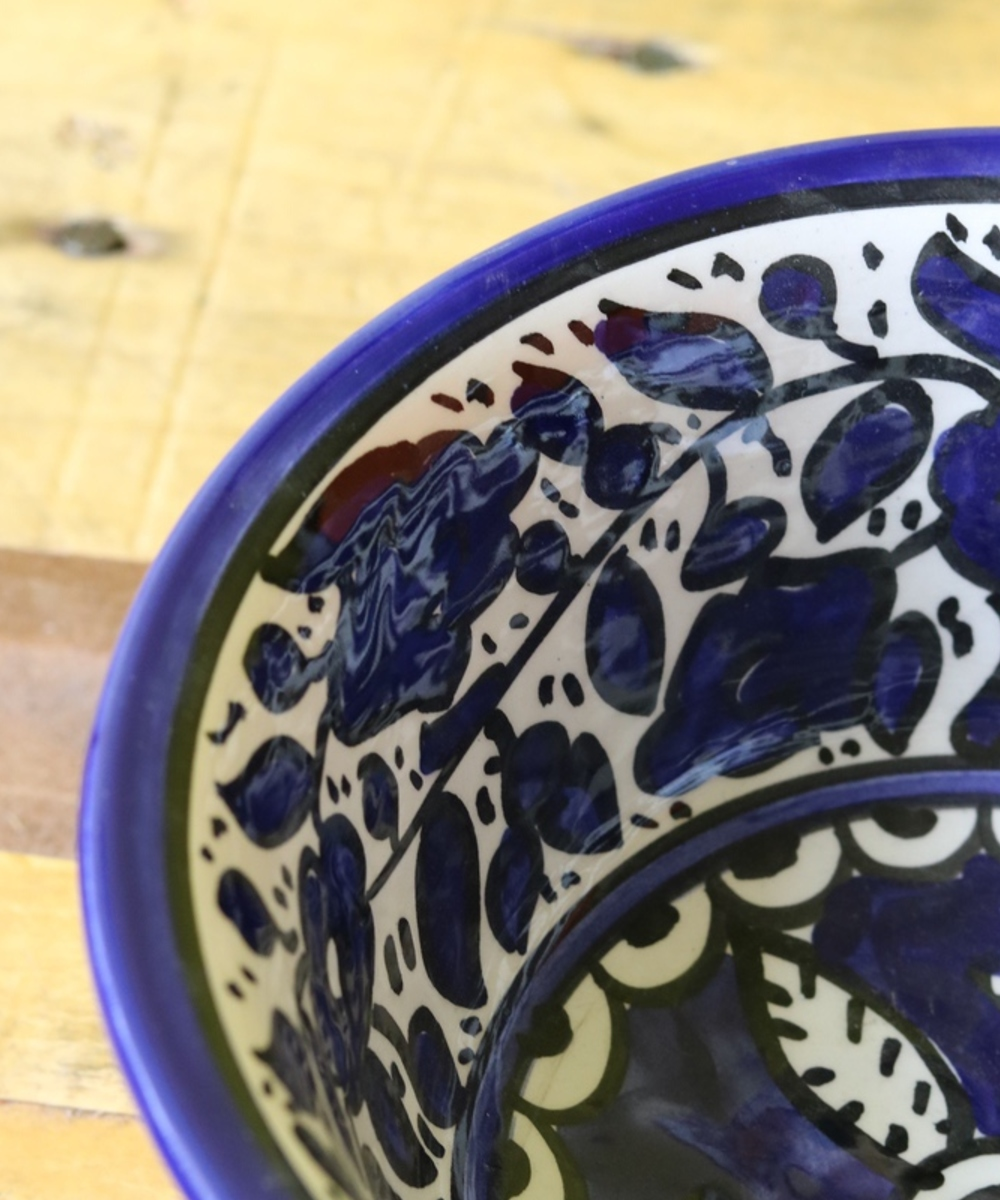 Large Floral Ceramic Plate: Blue