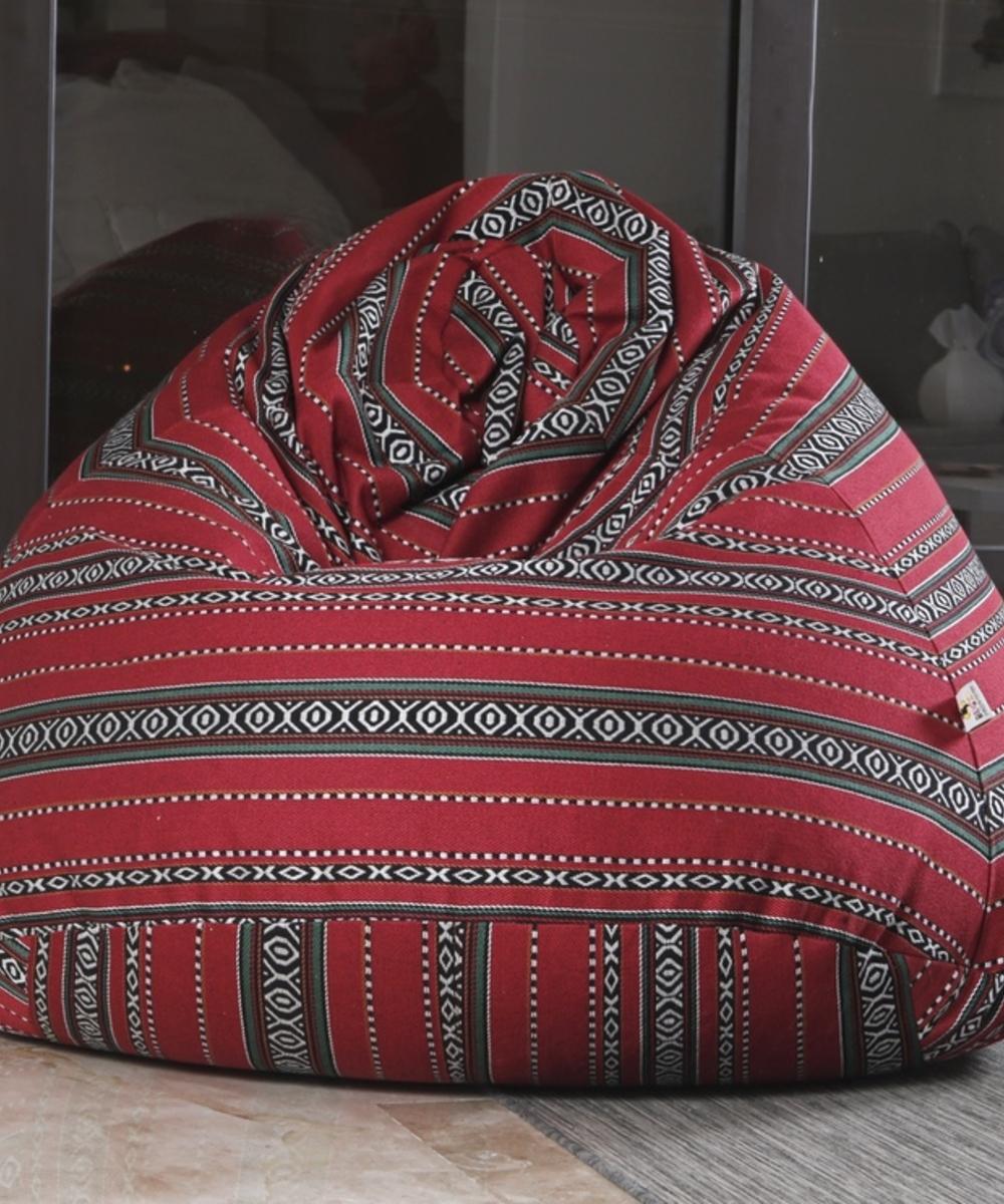 Medium Boho Bean Bag: Red
