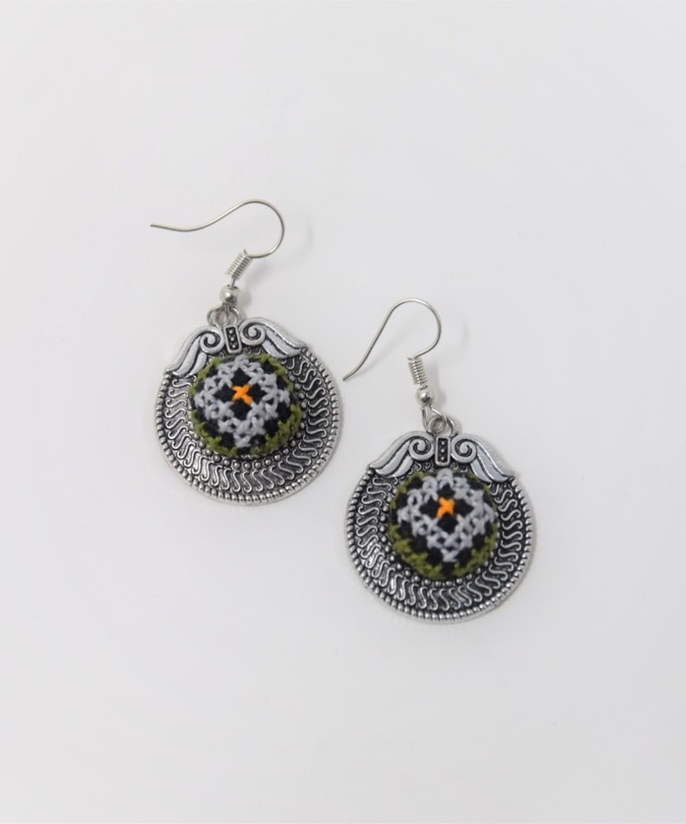 Embroidered Circular Earrings: Lavender, Green, and Yellow