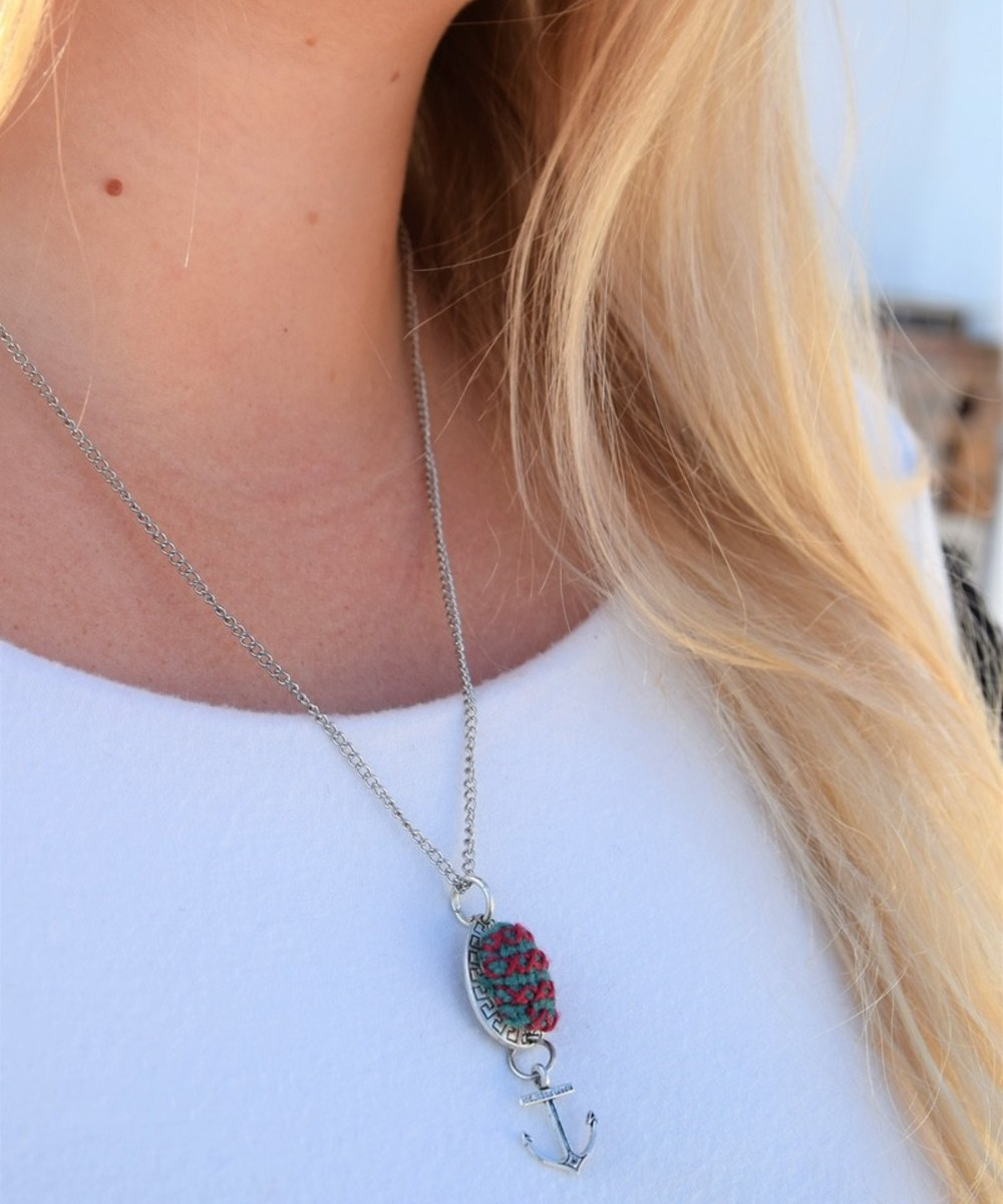 Embroidered Teardrop Necklace: Red and Teal