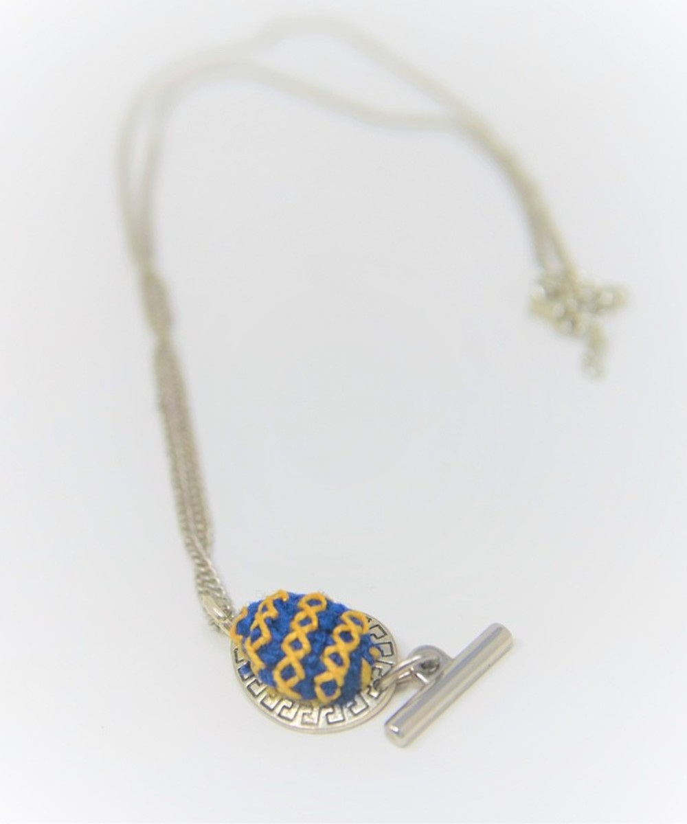 Embroidered Teardrop Necklace: Blue and Yellow