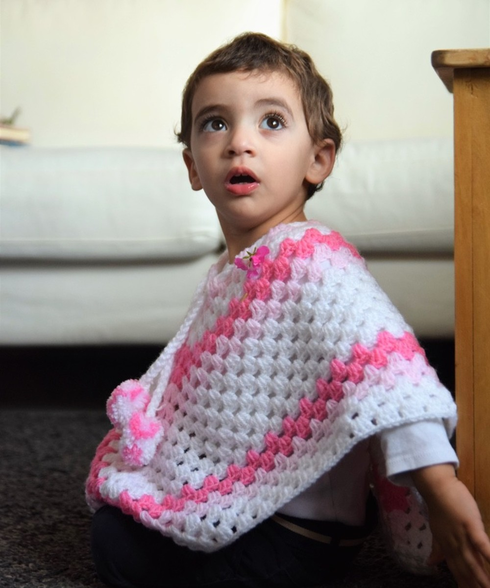 Crochet Baby Poncho: Pink and White (Size 12-18 Months)