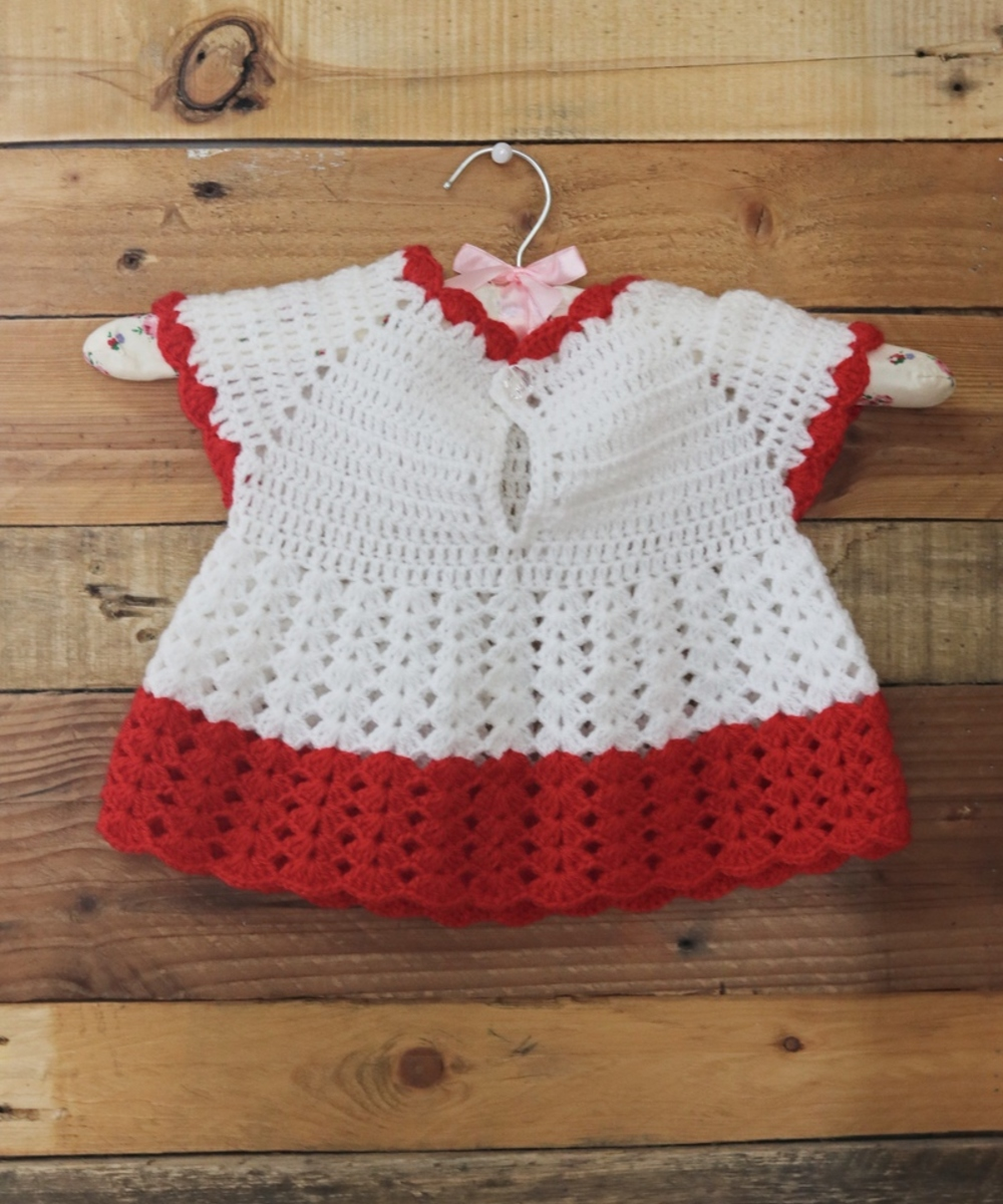 Crochet Baby Dress: White and Red (Size 0-3 Months)