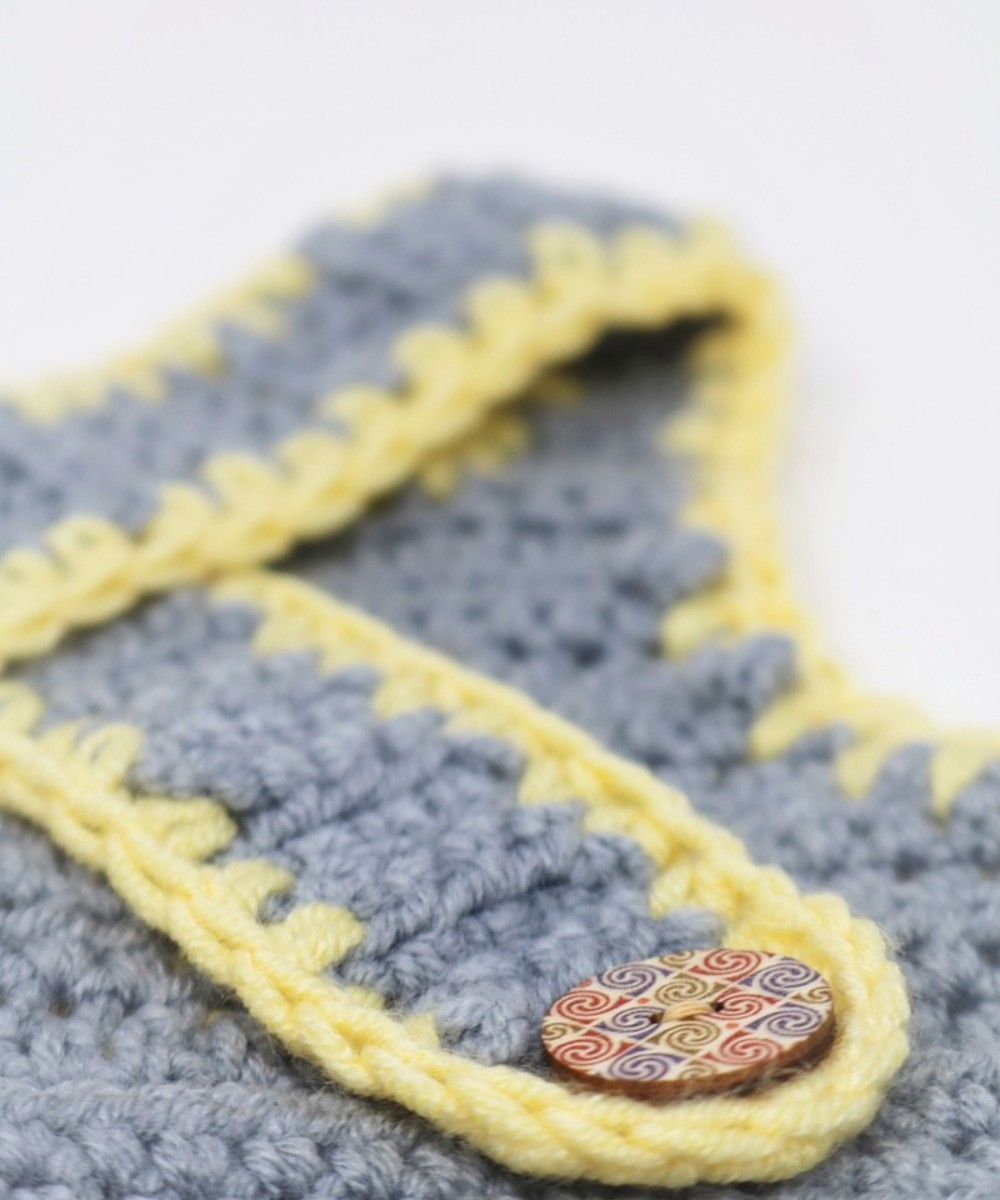 Crochet Onesie: Gray and Yellow (Size 3-6 Months)