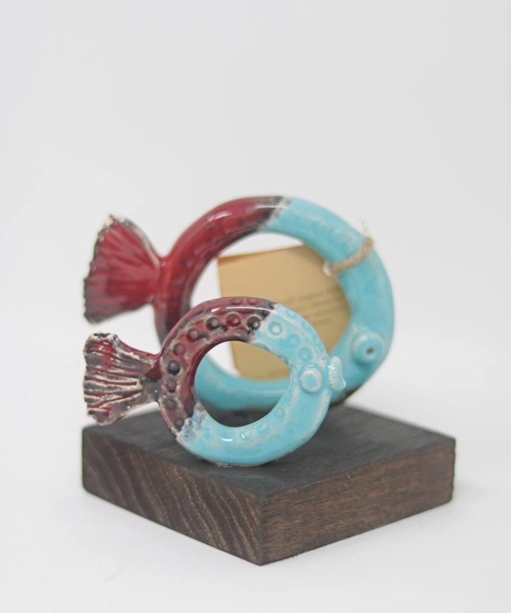 Circular Petra Fish Statuette: Double