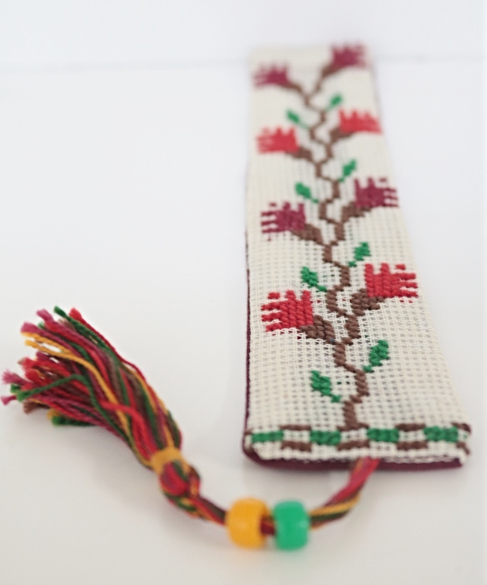 Embroidered Bookmark in Floral Red