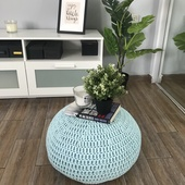 Small Pouf Chair in Blue