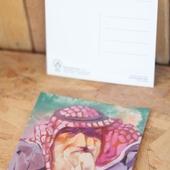 Squared PostCard - Jordanian Man (abstract painting by RMK)