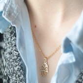 Stainless Steel Hamsa Hand Necklace in Gold
