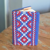 Blue Notebook with White and Red Embroideries