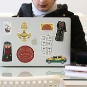 ستيكر - ملصق بتصميم الشرش أو الثوب