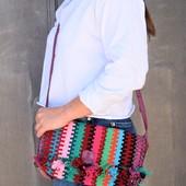 Woven Messenger Bag, Purple Leather